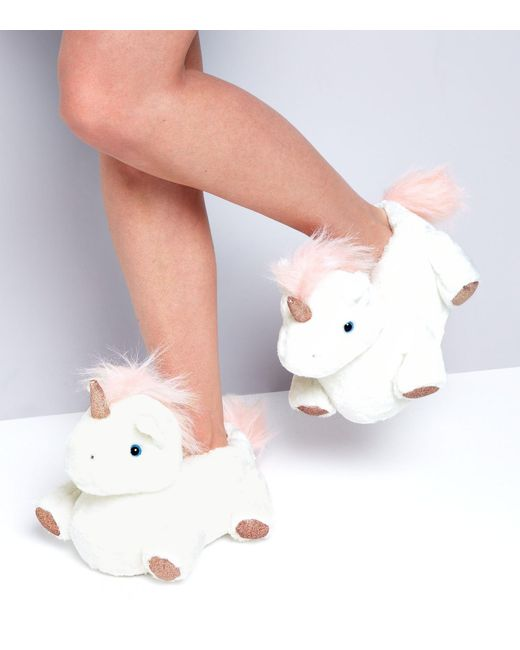 new look white unicorn slippers in white lyst. Black Bedroom Furniture Sets. Home Design Ideas