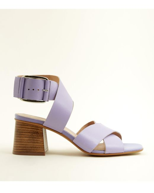 a3c96d5ab387 New Look Lilac Premium Leather Cross Strap Sandals in Purple - Lyst