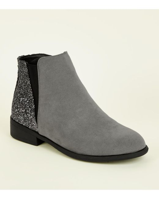 New Look - Gray Grey Glitter Panel Faux Suede Boots - Lyst