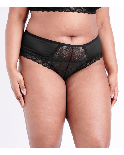 New Look - Curves Black Lace Front Brazilian Briefs - Lyst