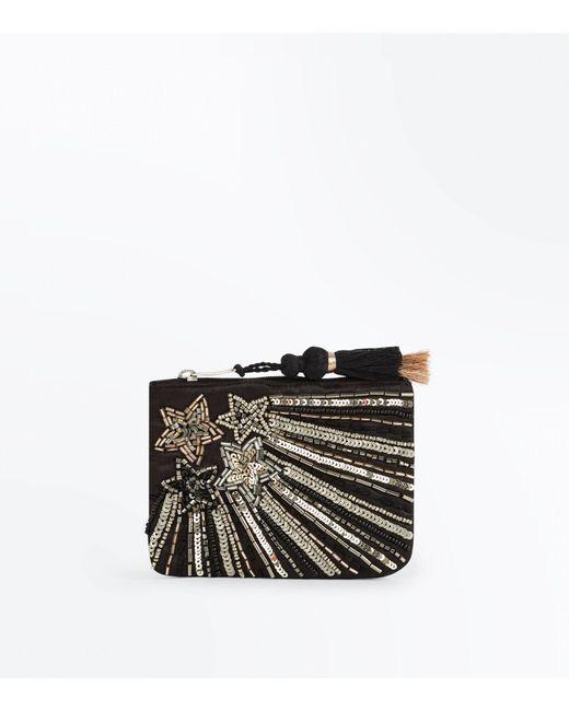 New Look | Black Star Sequin Embellished Zip Top Purse | Lyst
