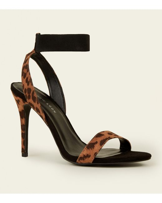 c22e0e044a64 New Look - Black Wide Fit Leopard Print Suedette Elastic Strap Heels - Lyst