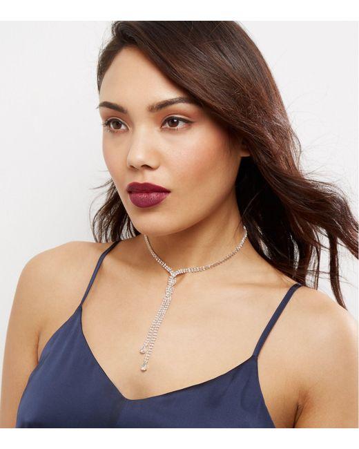 New Look | Multicolor Crystal Cross Front Diamanté Necklace | Lyst