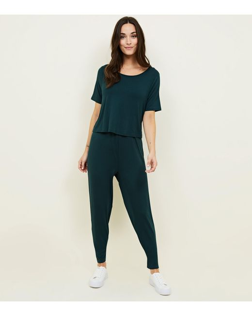New Look - Maternity Dark Green Layered Nursing Jumpsuit - Lyst