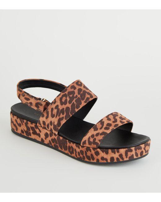 8f7c05b30fae New Look - Brown Stone Leopard Print Suedette Strappy Flatform Sandals -  Lyst