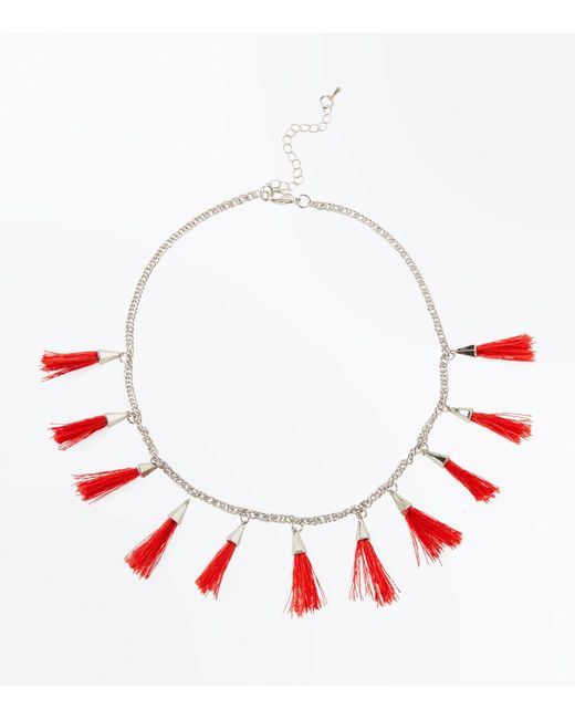 New Look - Red Tassel Drop Necklace - Lyst