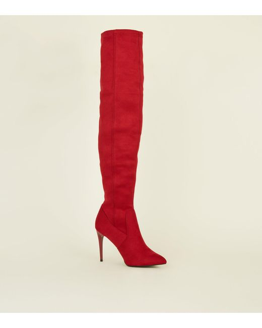 19e223cd260 New Look Red Suedette Stiletto Heel Over The Knee Boots in Red - Lyst
