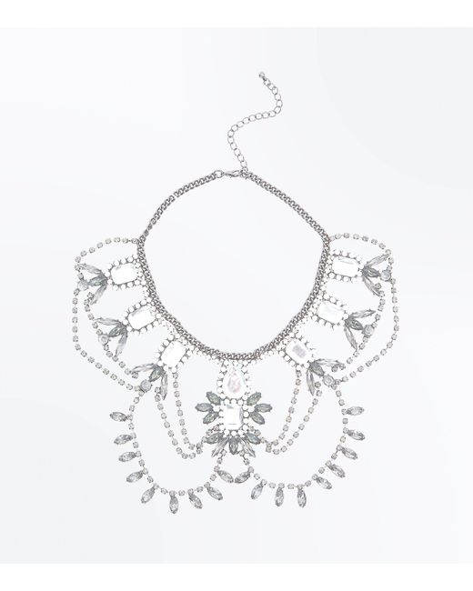 New Look | Metallic Silver Multi Gem Embellished Drape Necklace | Lyst