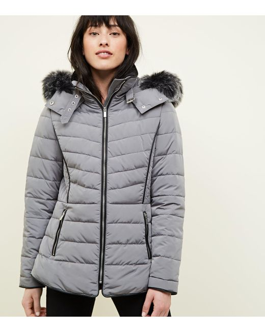 7cd8b292c39a New Look Pale Grey Faux Fur Trim Hooded Puffer Jacket in Gray - Lyst