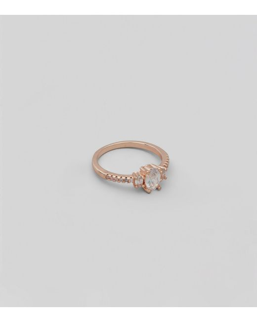 New Look | Metallic Rose Gold Cubic Zirconia Ring | Lyst