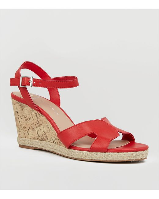e9b758ffeb4 New Look Wide Fit Red Cork Effect Wedge Sandals in Red - Lyst