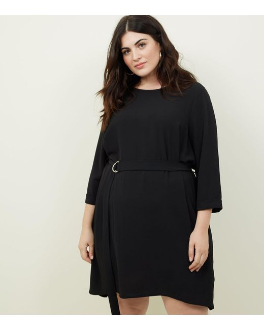New Look - Curves Black Crepe Belted Tunic Dress - Lyst