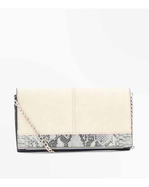 New Look | Natural Stone Faux Snake Skin Purse Clutch | Lyst