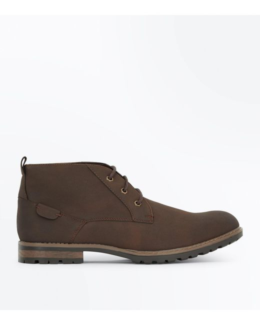 New Look | Dark Brown Lace Up Boots for Men | Lyst