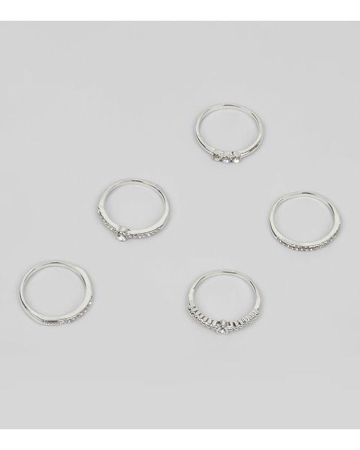New Look   Metallic 5 Pack Silver Diamante Rings   Lyst