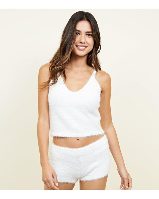 New Look - White Cream Fluffy Pyjama Set - Lyst