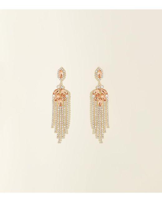 New Look Metallic Gold Premium Diamanté Chandelier Chain Earrings Lyst