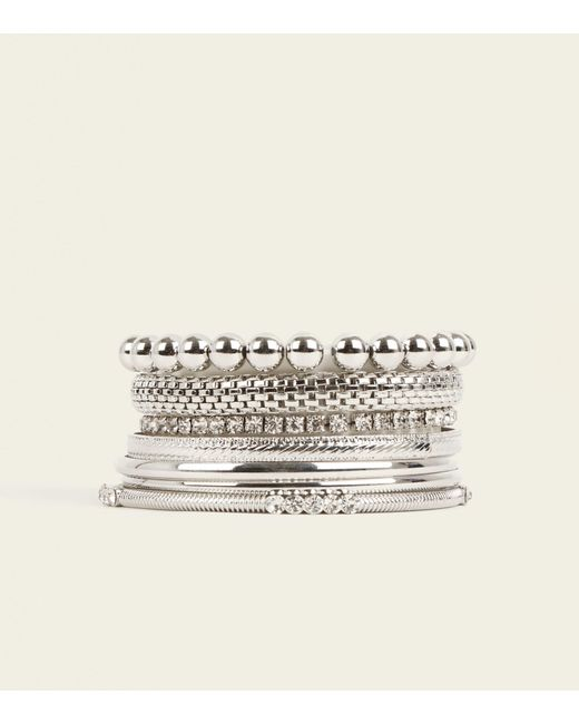 New Look - Metallic Silver And Crystal Bangle Set - Lyst
