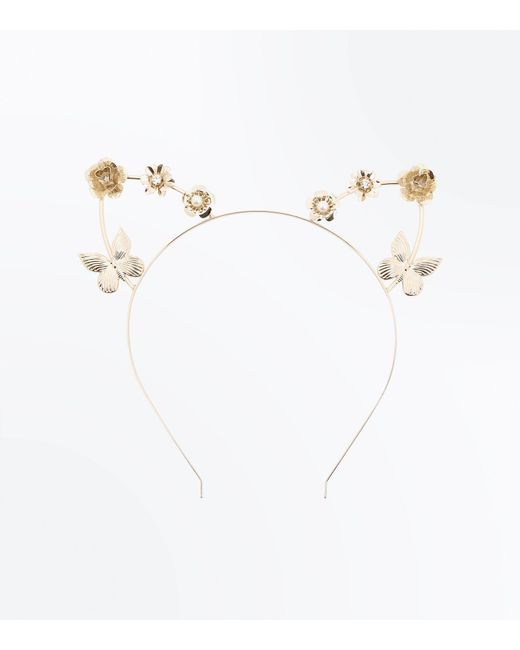 New Look - Metallic Gold Butterfly Embellished Cat Ears - Lyst