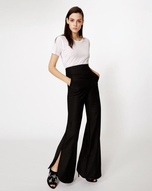 Nicole Miller   Black Wool Side Slit Pant   Lyst