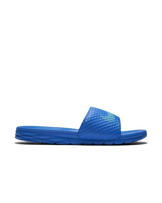 Nike Benassi Solarsoft 2 Men S Slide Sandal In Blue For