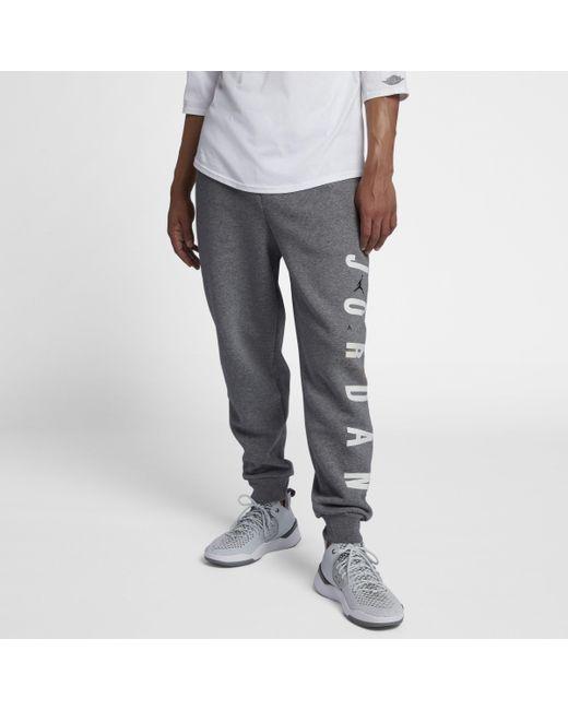 Nike - Gray Jordan Sportswear Jumpman Air Fleece Trousers for Men - Lyst 9e537fb950b6