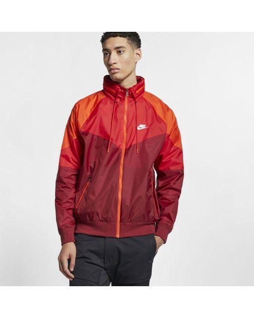 Nike Sportswear Windrunner Hooded Jacket in Red for Men - Lyst