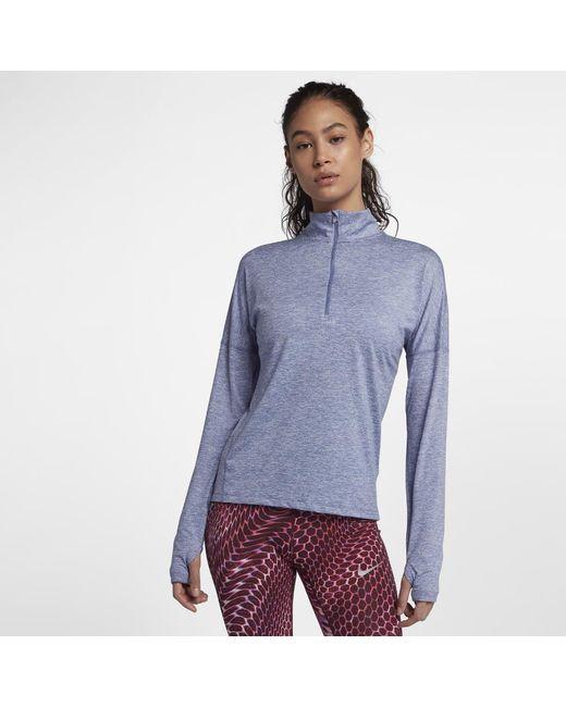 86e71d94b9a4 Lyst - Nike Dri-fit Element Women s Long Sleeve Running Half-zip Top ...