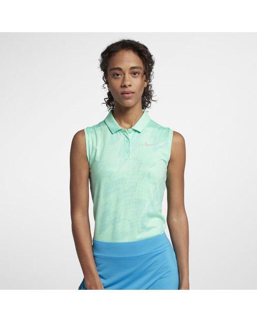0d5099804cfde Lyst - Nike Dri-fit Women s Sleeveless Golf Polo Shirt in Green