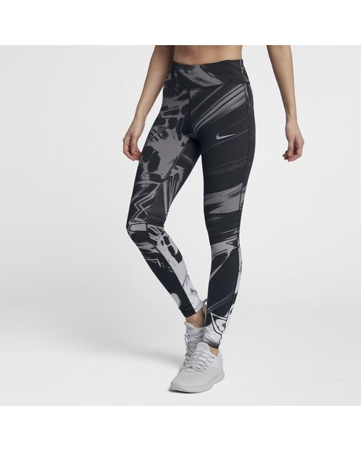 new concept 95144 adbda Nike - Black Epic Lux Women s Printed Running Tights - Lyst