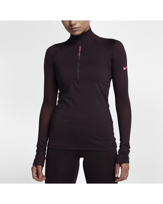 8416076786 Lyst - Nike Pro Hyperwarm Women s Long Sleeve Training Top in Black