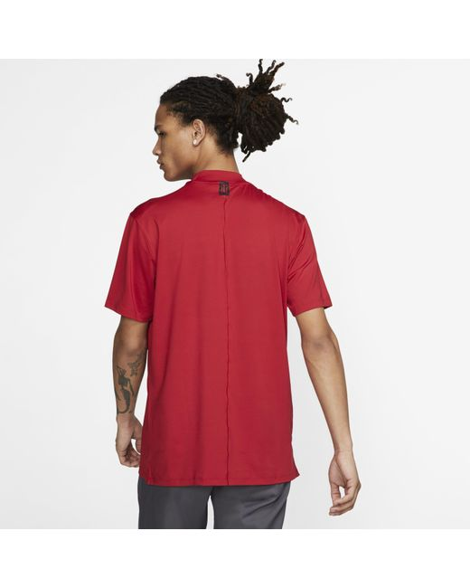 670084f02 ... Nike - Red Dri-fit Tiger Woods Vapor Mock-neck Golf Top for Men ...