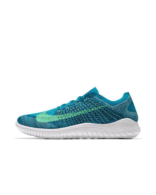 new product 54705 ff1ae Nike - Blue Free Rn Flyknit 2018 Id Women s Running Shoe - Lyst