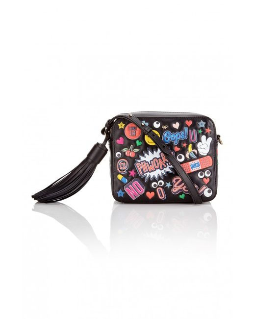 Anya hindmarch All Over Stickers Cross body Bag in Black