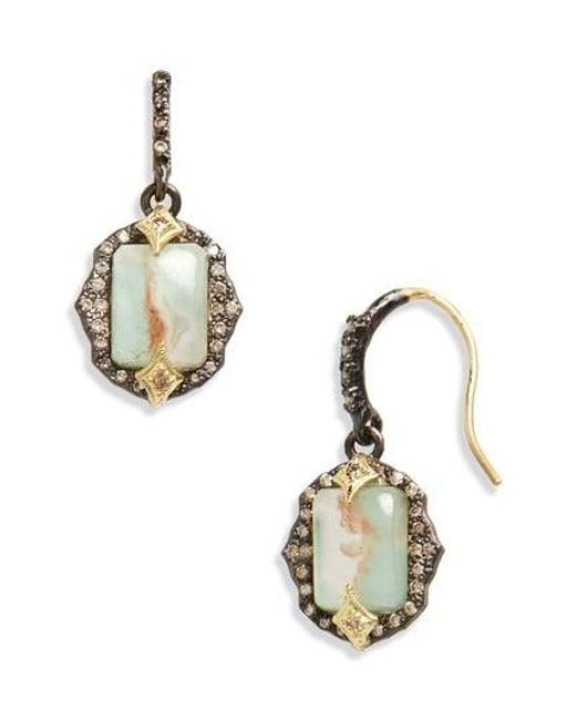 Armenta Old World Emerald-Cut Drop Earrings, Blue