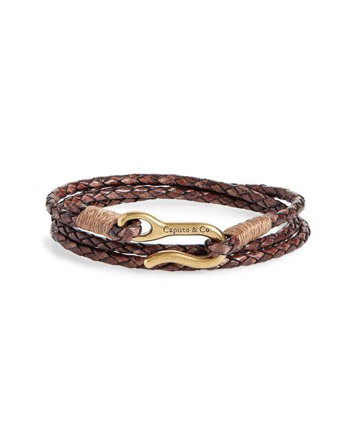 Caputo & Co. - Brown Braided Leather Wrap Bracelet for Men - Lyst