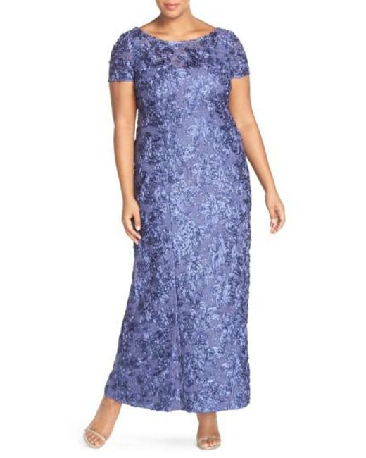 Alex Evenings | Blue Rosette Lace Short Sleeve A-line Gown | Lyst