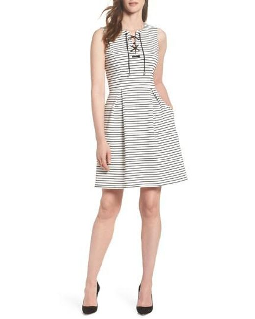 Adrianna Papell - Multicolor Stripe Fit & Flare Dress - Lyst