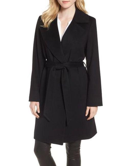 Sofia cashmere Notch Collar Cashmere Wrap Coat in Black | Lyst