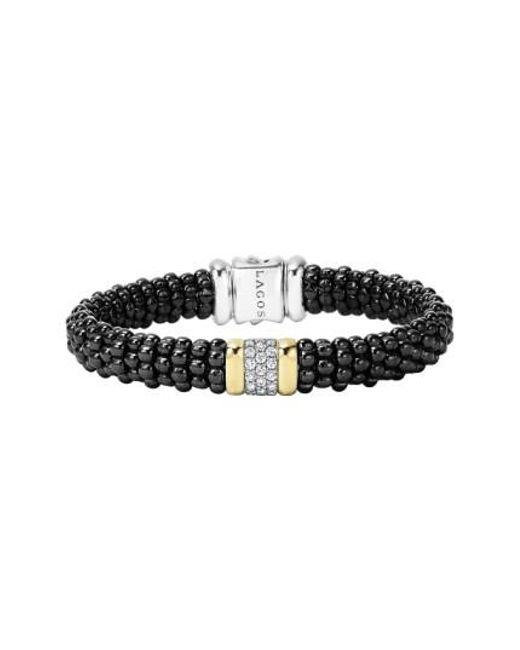 Lagos   Metallic 'black Caviar' Diamond Rope Bracelet   Lyst