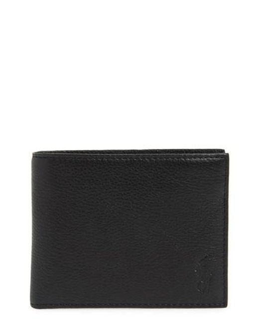 Polo Ralph Lauren - Black Leather Passcase Wallet for Men - Lyst