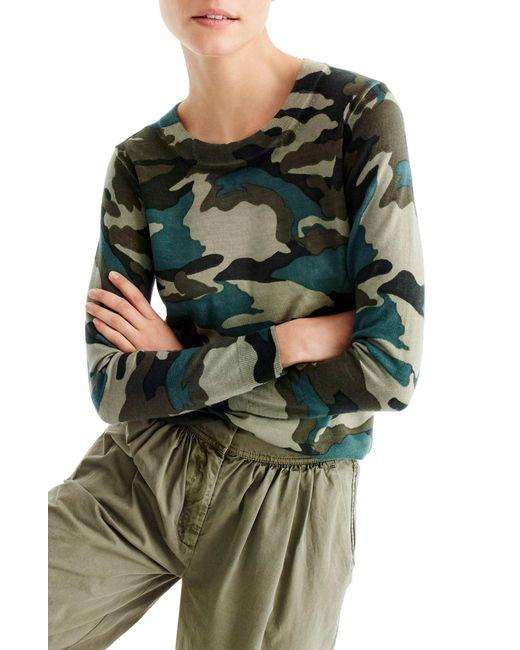 J.Crew - Green Camo Tippi Merino Wool Sweater - Lyst