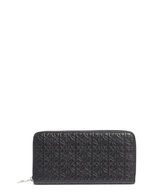 Loewe Black Leather Zip Around Wallet