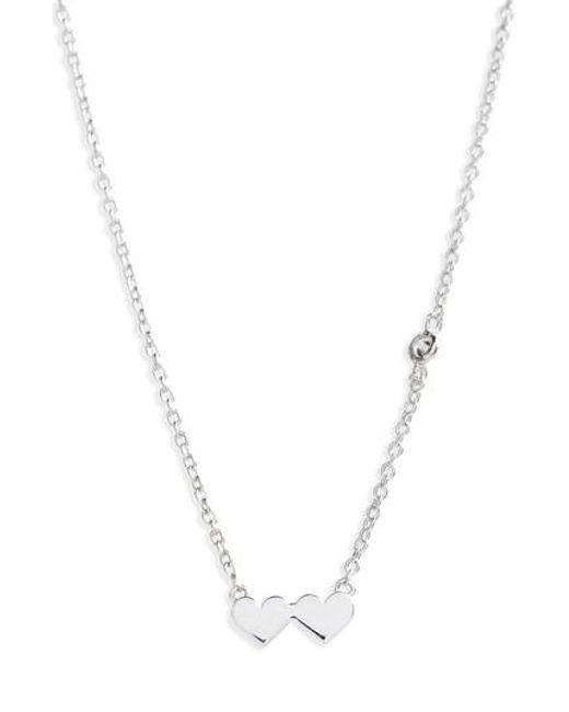 Shy By Sydney Evan | Metallic Shy Be Se Double Heart Necklace | Lyst