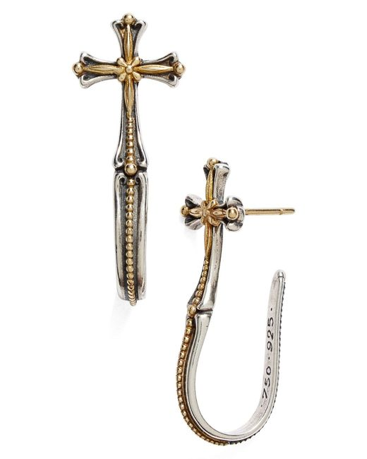 Konstantino - Metallic 'hebe' Cross J-hoop Earrings - Lyst