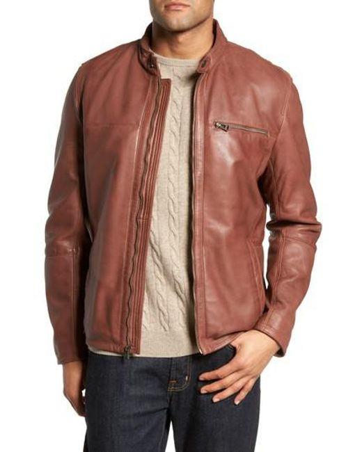 Cole Haan - Brown Washed Lamb Leather Moto Jacket for Men - Lyst