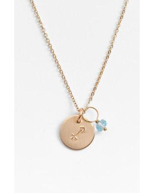 Nashelle - Metallic 14k-gold Fill & Semiprecious Birthstone Zodiac Mini Disc Necklace - Lyst