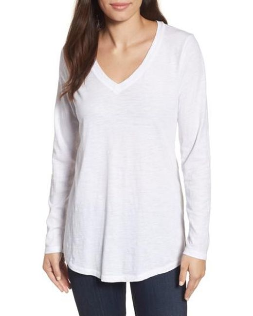 Eileen fisher organic cotton v neck tee in white lyst for Eileen fisher organic cotton t shirt