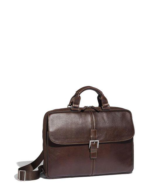 Boconi - Brown 'tyler' Tumbled Leather Portfolio Briefcase for Men - Lyst
