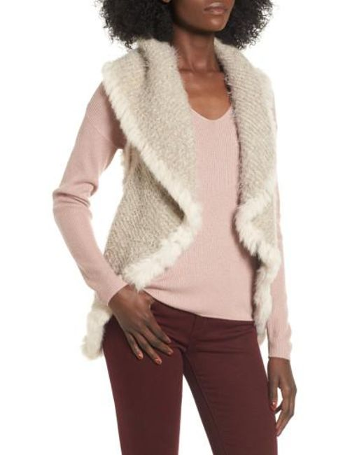 Love Token | White Knit Vest With Genuine Rabbit Fur Trim | Lyst